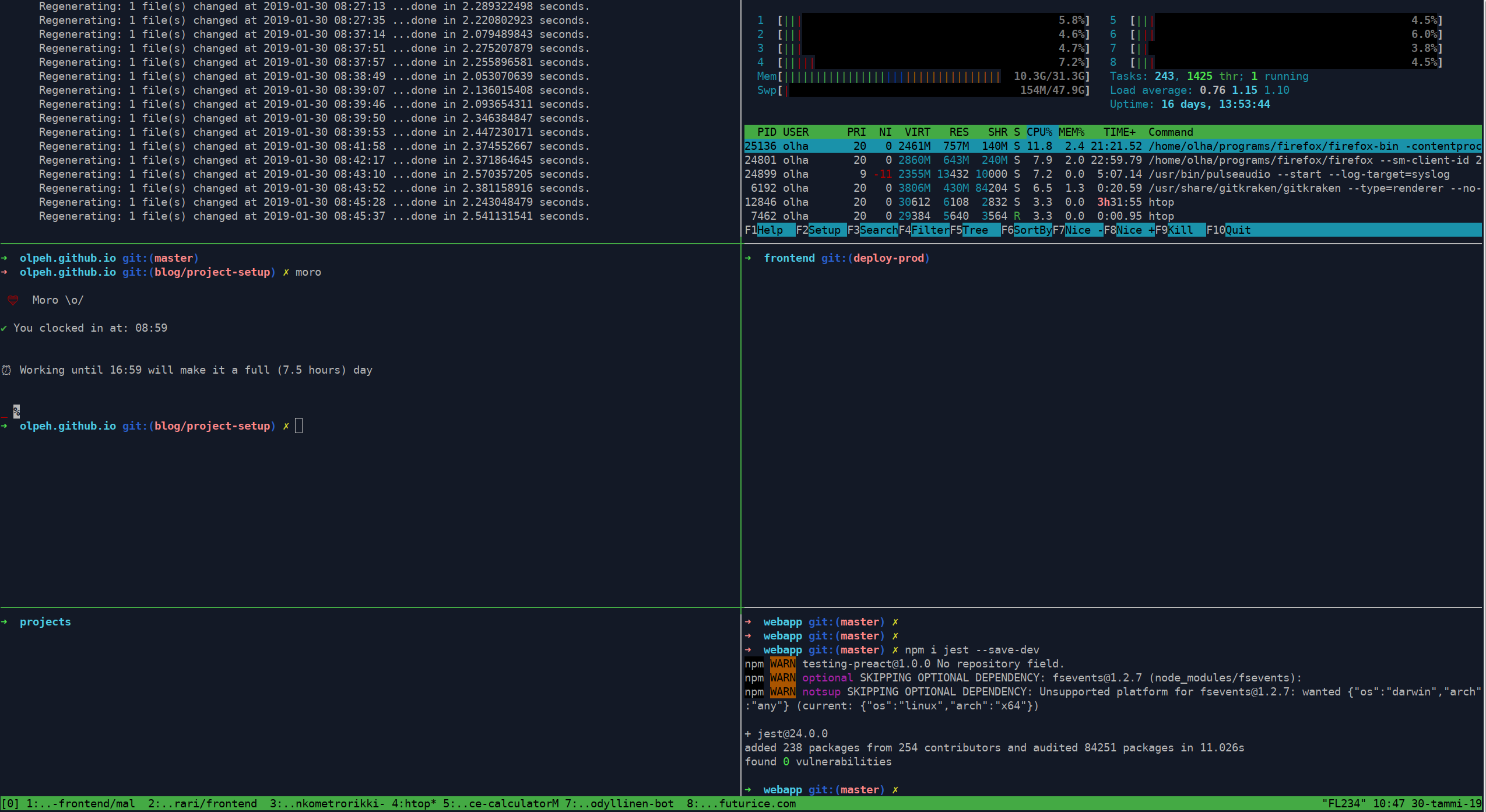 Screenshot of my typical terminal layout